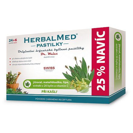 HerbalMed Dr.Weiss pastilky Jitrocel-mateřídouška-lípa 24+6 ks