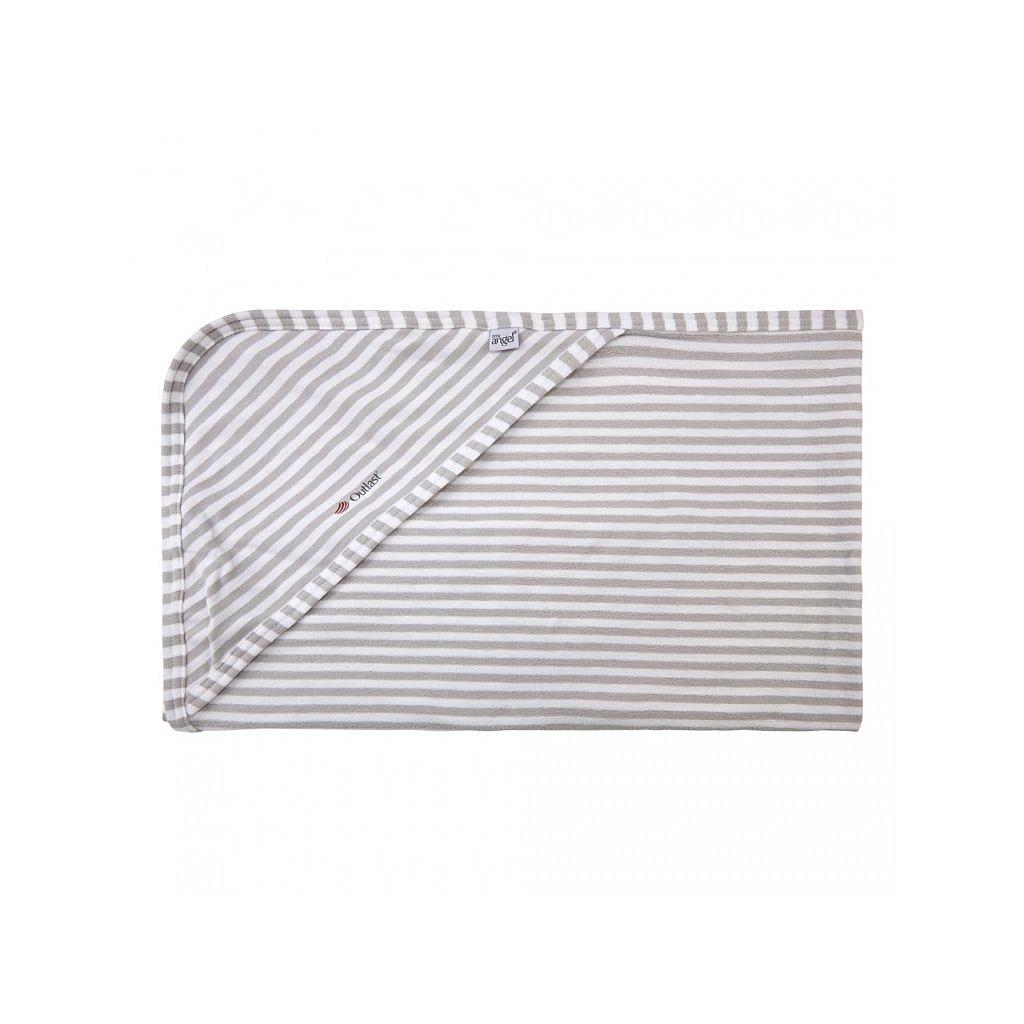 LITTLE ANGEL Osuška zavinovačka multifunkční tenká Outlast® 90x 90 cm pruh sv.šedý