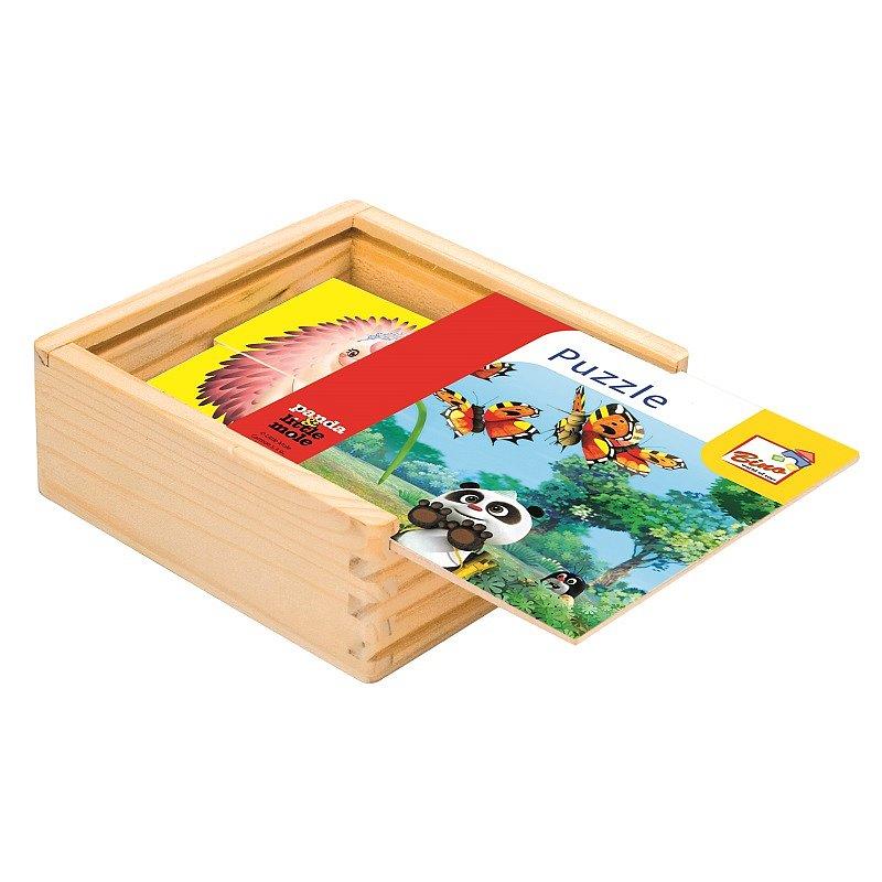 BINO Krtek a Panda dřevěné puzzle barevné 16 dílků