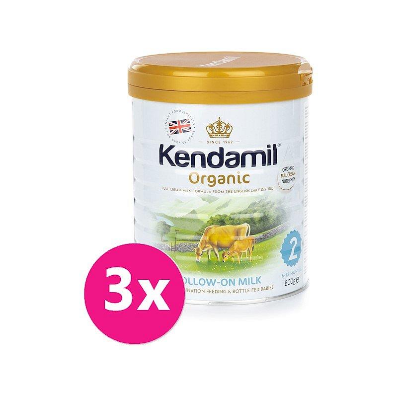 3x KENDAMIL Pokračovací BIO mléko 2 (800 g) DHA+