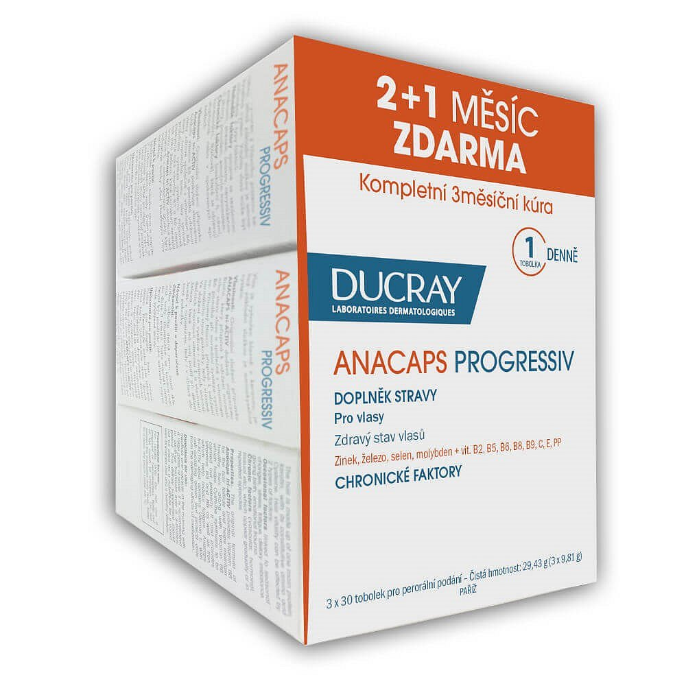 DUCRAY Anacaps Progressiv 30 tobolek (2+1 ZDARMA)