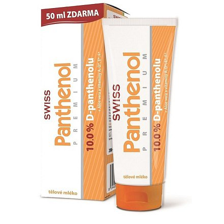Panthenol 10% Swiss PREMIUM tělové mléko 200+50ml Zdarma