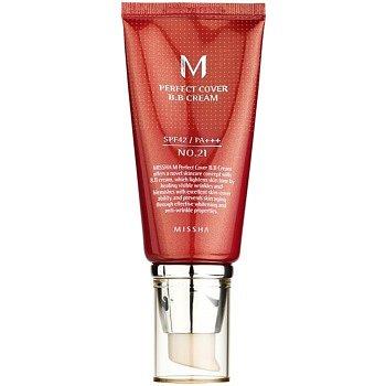 Missha M Perfect Cover BB krém s vysokou UV ochranou odstín No. 21 Light Beige SPF42/PA+++ 50 ml