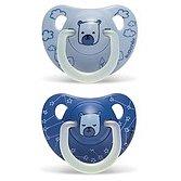 SUAVINEX Dudlík noční anatomický silikon (6-18m) 2 ks – modrý medvěd