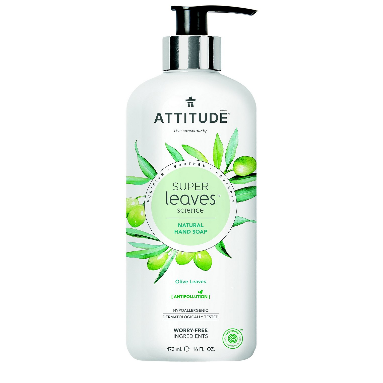 ATTITUDE Přírodní mýdlo na ruce Super leaves s detoxikačním účinkem – olivové listy 473 ml