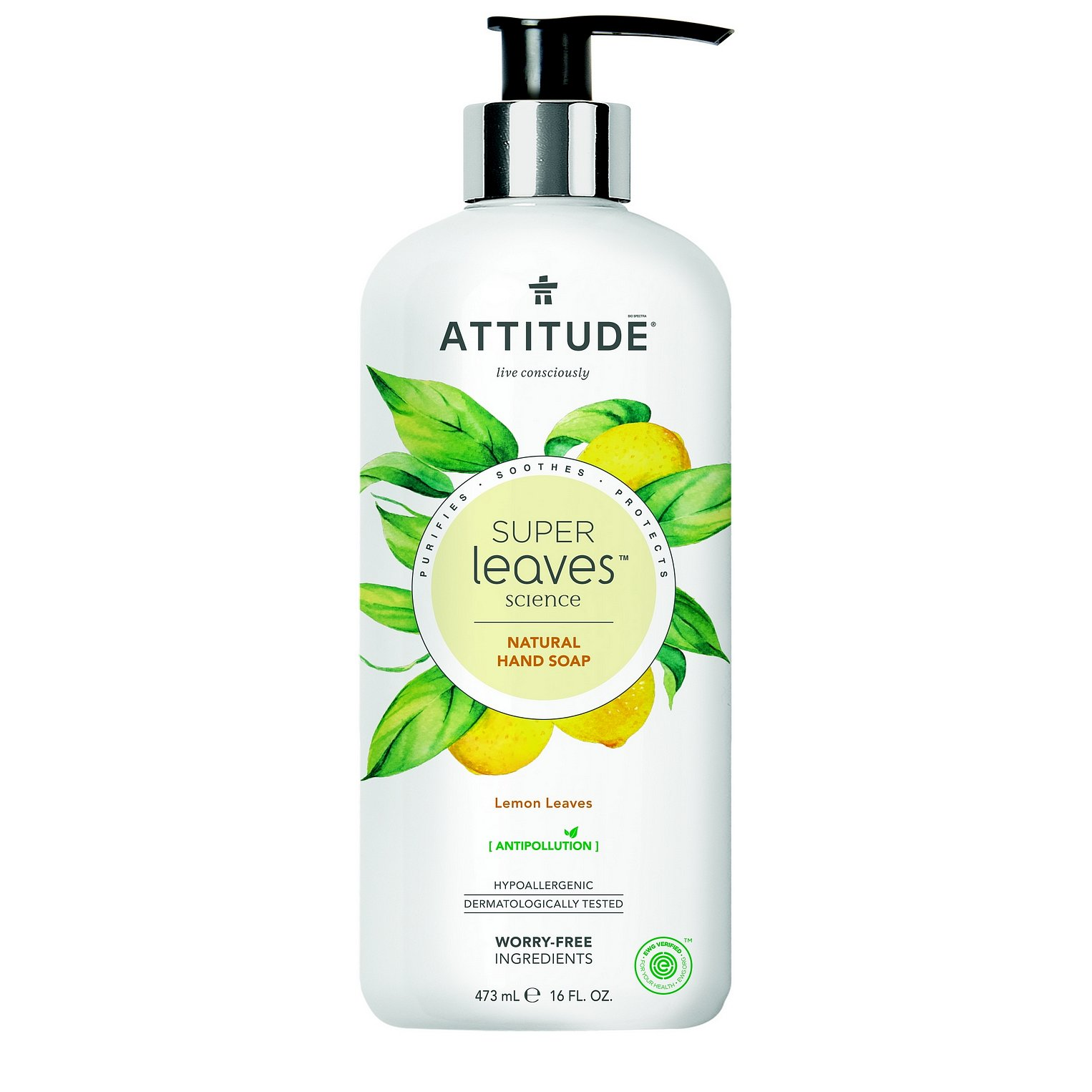 ATTITUDE Přírodní mýdlo na ruce Super leaves s detoxikačním účinkem – citrusové listy 473 ml