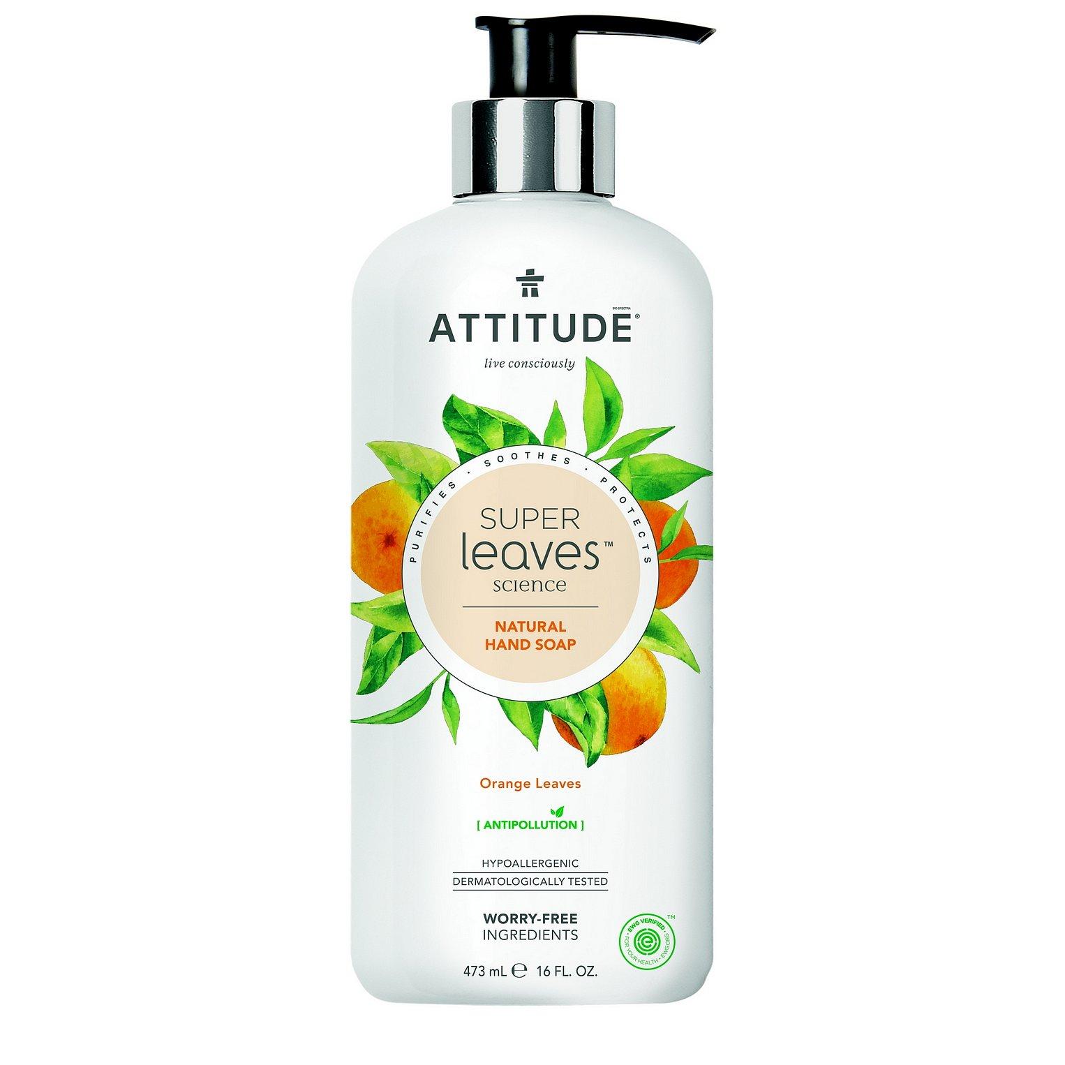 ATTITUDE Přírodní mýdlo na ruce Super leaves s detoxikačním účinkem – pomerančové listy 473 ml