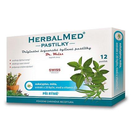 HerbalMed Dr.Weiss pastilky Eukalyptus-máta 12 ks