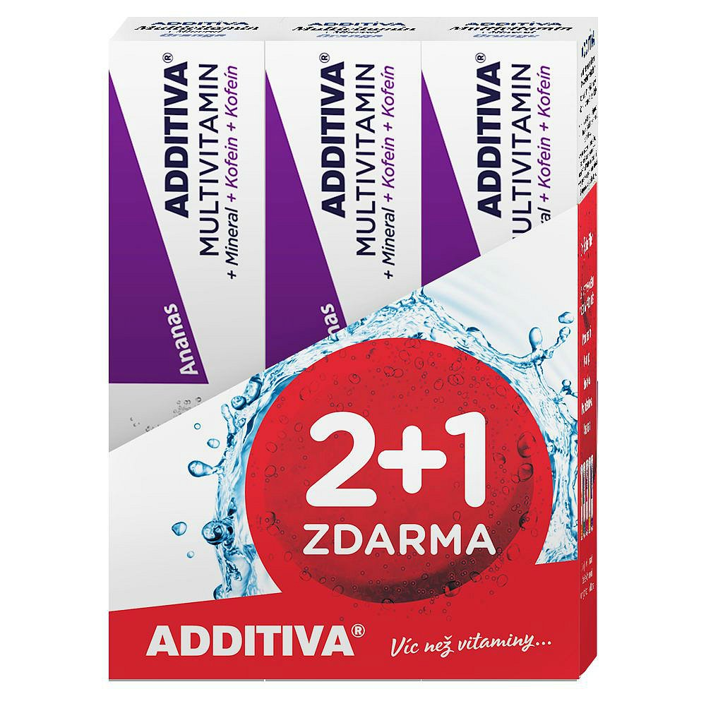 ADDITIVA sada multivitamin 2+1 ananas šumivé tablety 3 x 20ks
