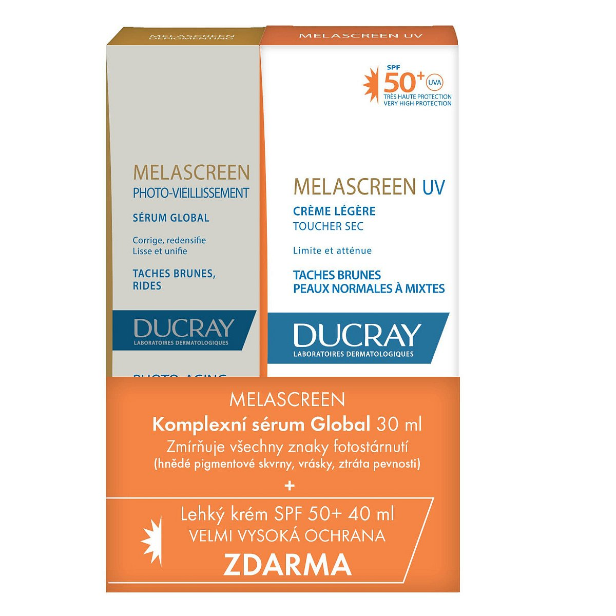 Ducray Melascreen Sérum 30 ml + Lehký krém SPF50+ 40 ml