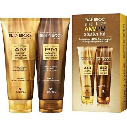 Alterna Bamboo Smooth Anti-Frizz AM/PM Starter Kit set pro uhlazení nepoddajných vlasů 300ml