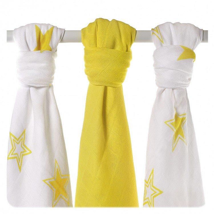 KIKKO Bambusové pleny Stars 70x70 (3 ks) - lemon