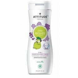 ATTITUDE Little leaves Dětské tělové mýdlo a šampon 2v1 vanilka hruška 473 ml