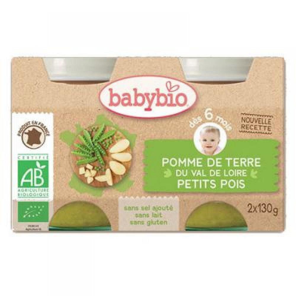 Babybio brambory s hráškem 2x130g