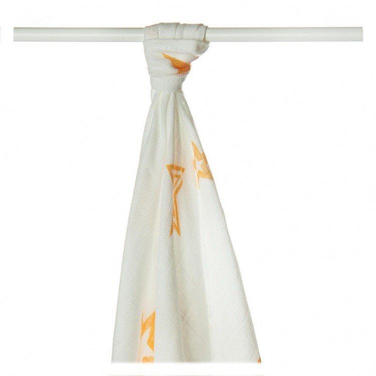 KIKKO Bambusová osuška/plena Stars 90x100 (1 ks) - orange