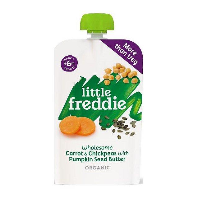 Little Freddie Zdravá zeleninová směs z mrkve cizrny a másla z dýňových semínek 120 g