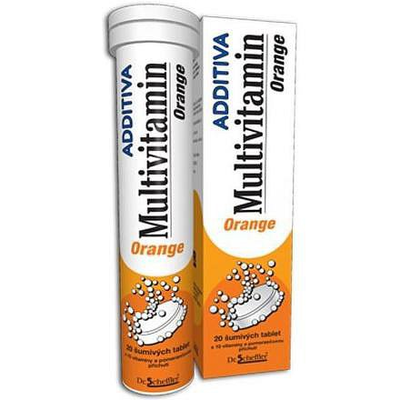 Additiva multivitamín +minerál tablety šumivé 20 pomeranč