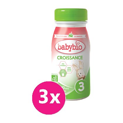3x BABYBIO Croissance 3 tekuté kojenecké bio mléko 0,25 l