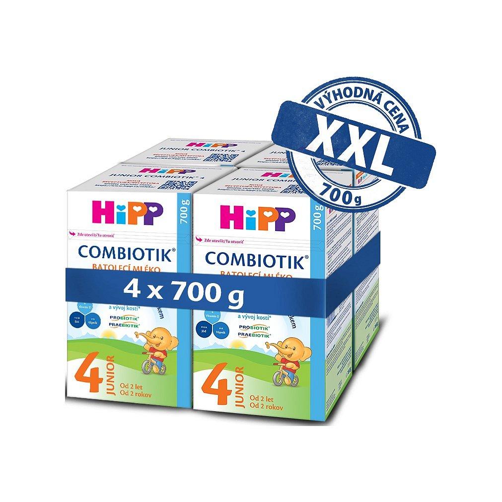 4x HiPP 4 Junior Combiotik - batolecí mléko od uk. 2. roku, 700 g