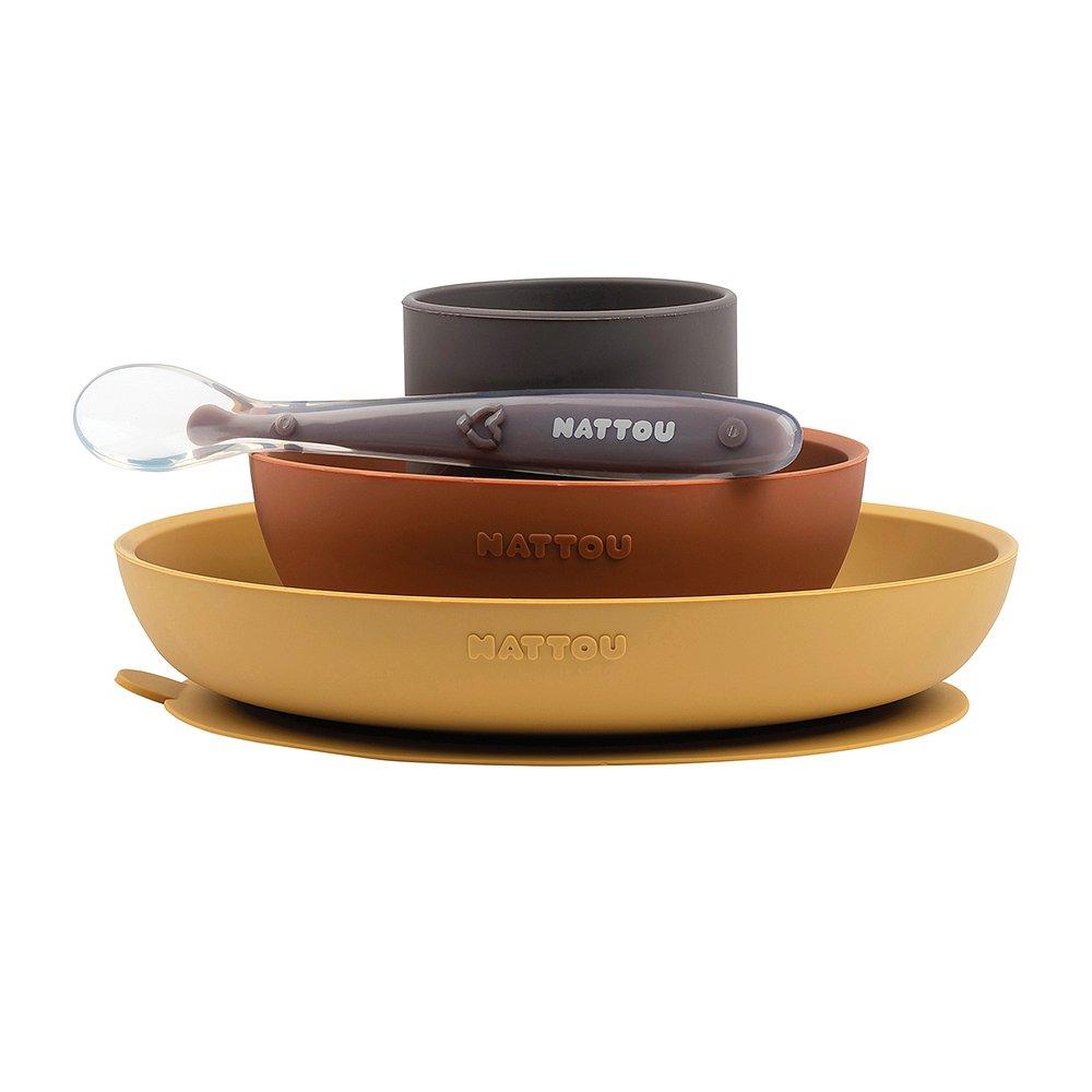 NATTOU Set jídelní silikonový 4 ks hnědo-terakotový bez BPA