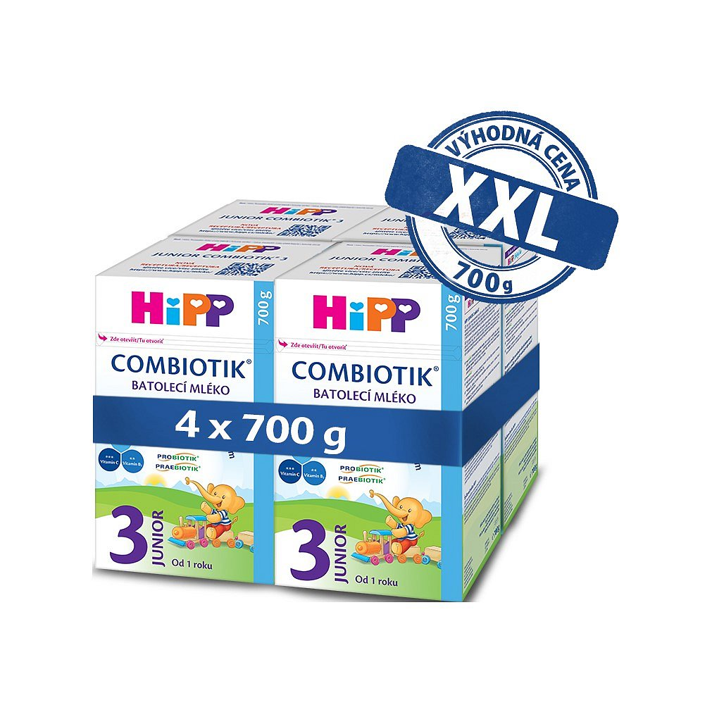 4x HiPP 3 Junior Combiotik - batolecí mléko od uk. 1. roku, 700 g