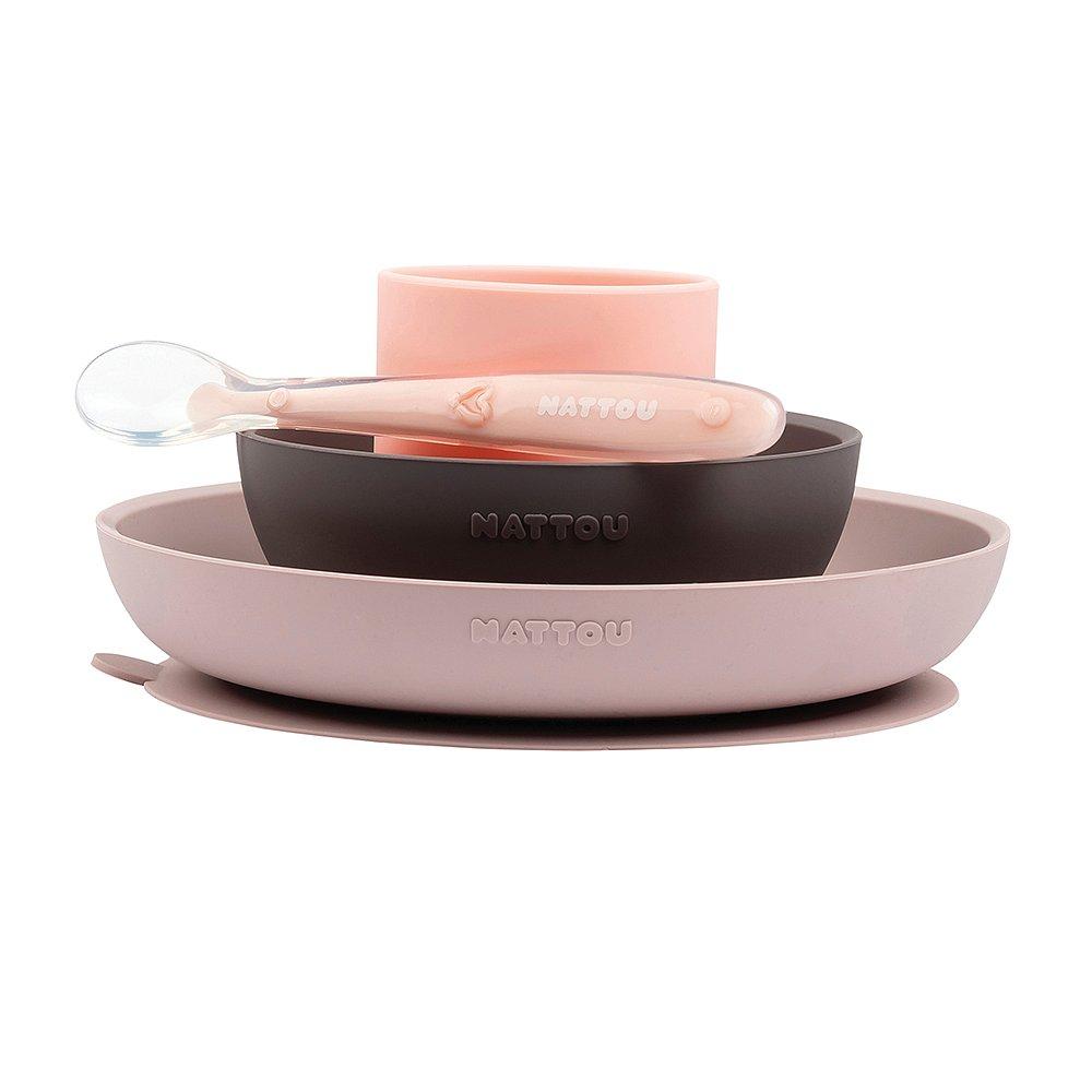NATTOU Set jídelní silikonový 4 ks růžovo-fialový bez BPA