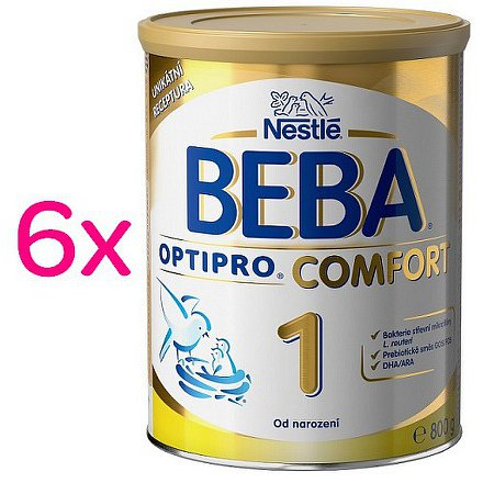 NESTLÉ Beba OPTIPRO Comfort 1, mléčná kojenecká výživa, 6x800g