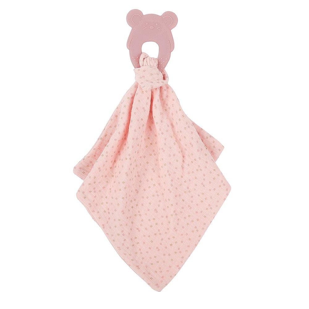 NATTOU Kousátko silikonové bez BPA s bavlněnou dečkou 28 x 28 cm pink