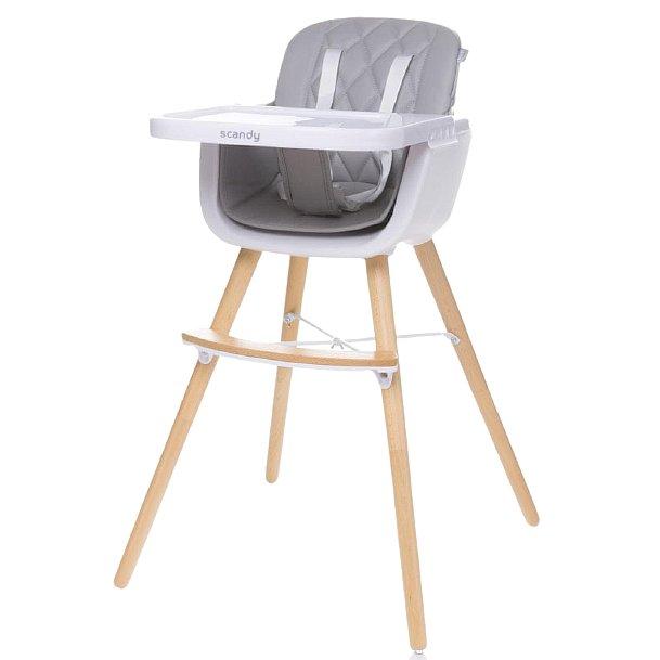 4baby Jídelní židlička Scandy light grey