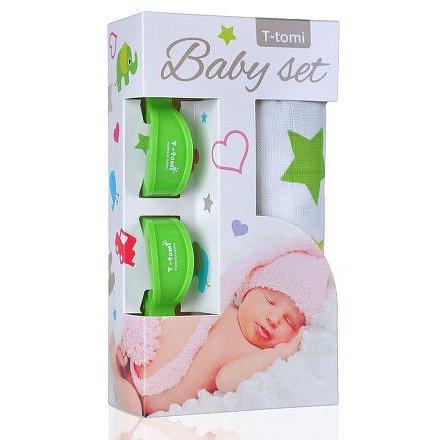 Baby set - bambusová osuška zelené hvězdičky + kočárkový kolíček zelený