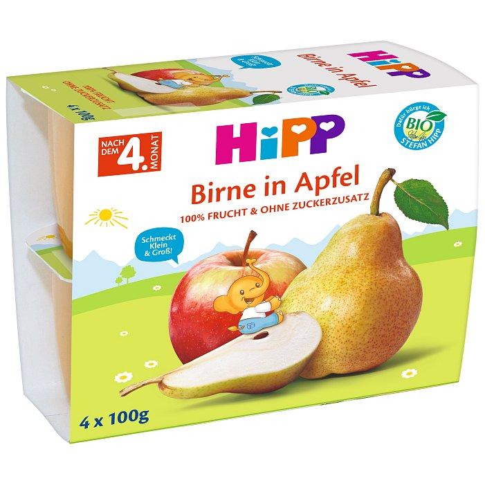 HIPP BIO jablkový s hruškami (4 x 100 g) - ovocný příkrm