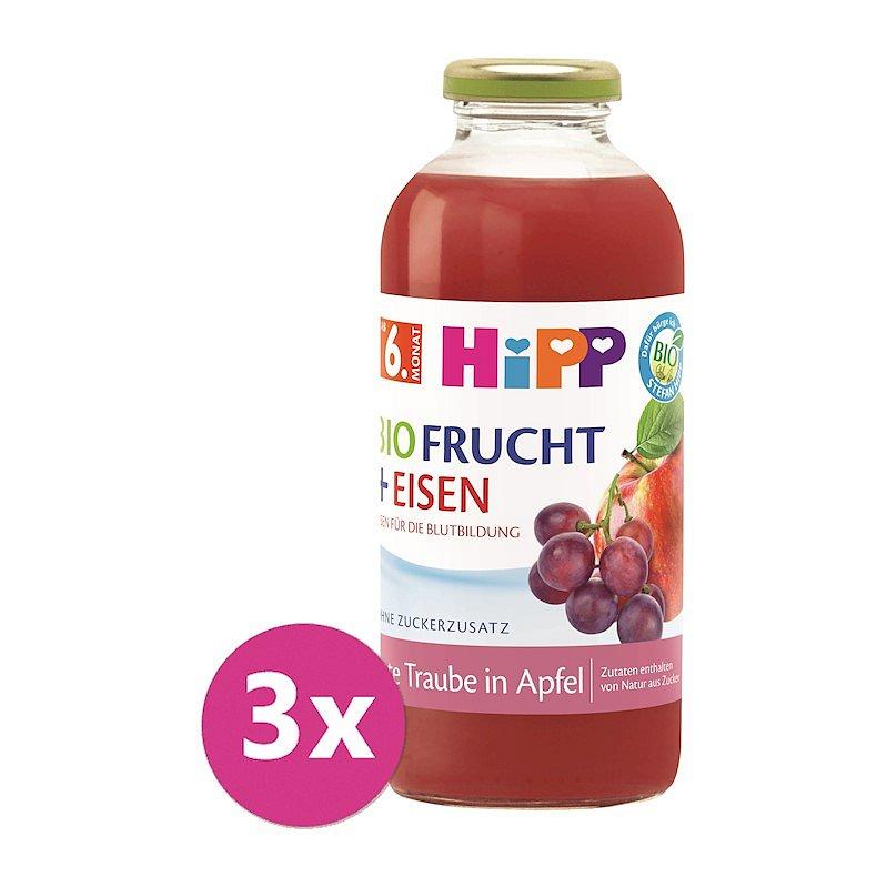 3x HIPP BIO Jablko a červevné hrozny + železo od 6. měsíce, 500 ml