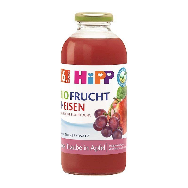 HIPP BIO Jablko a červevné hrozny + železo od 6. měsíce, 500 ml