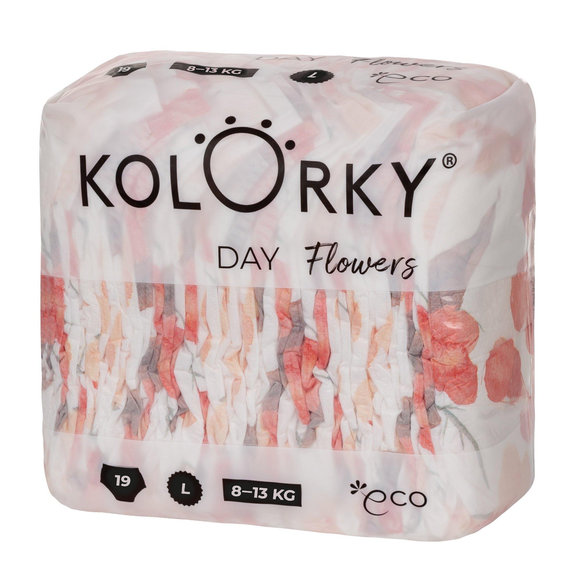 Kolorky DAY - květy - L (8-13 kg) jednorázové eko plenky 19ks