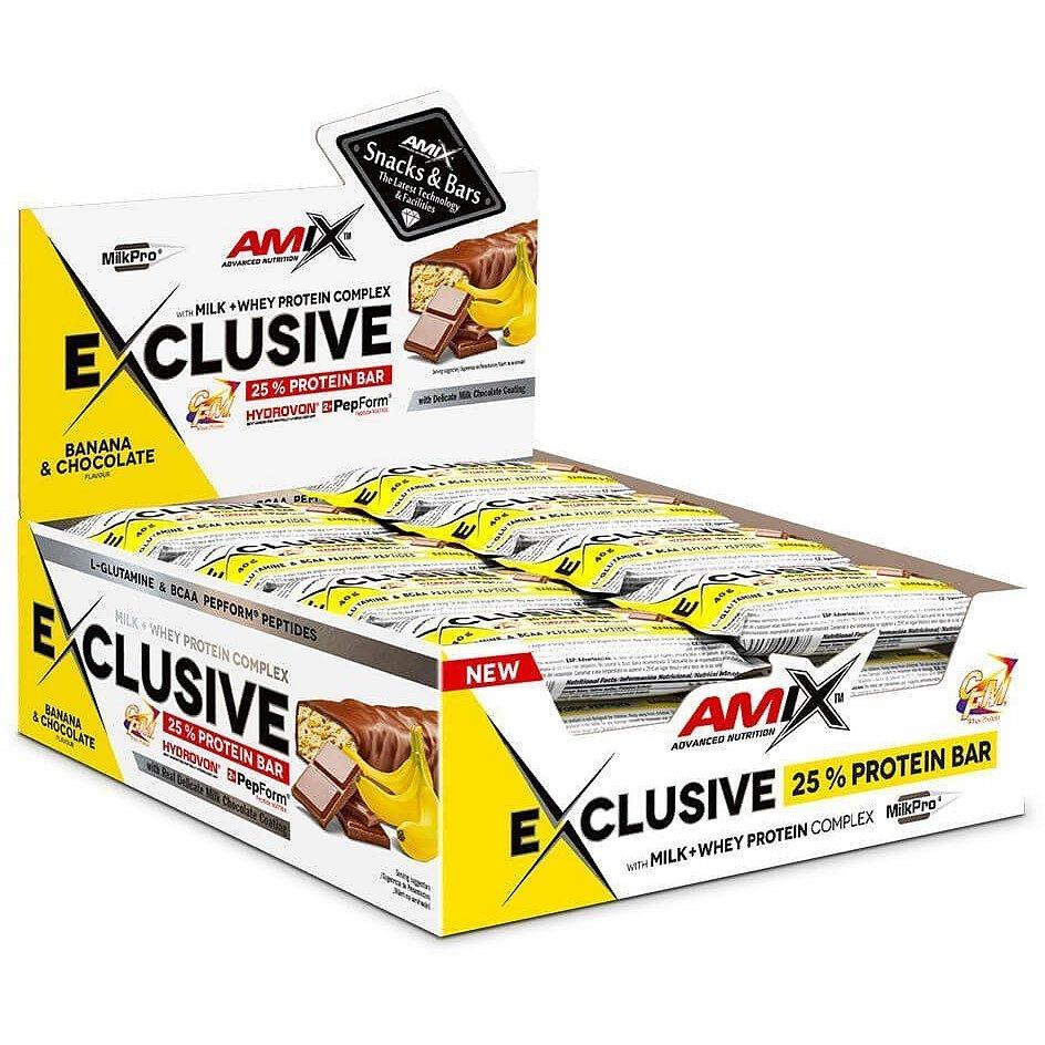 AMIX Exclusive Protein Bar, Banán-čokoláda, 24x40g