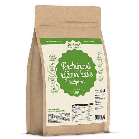 GreenFood Nutrition Proteinová rýžová kaše bezlepková banánová 500g