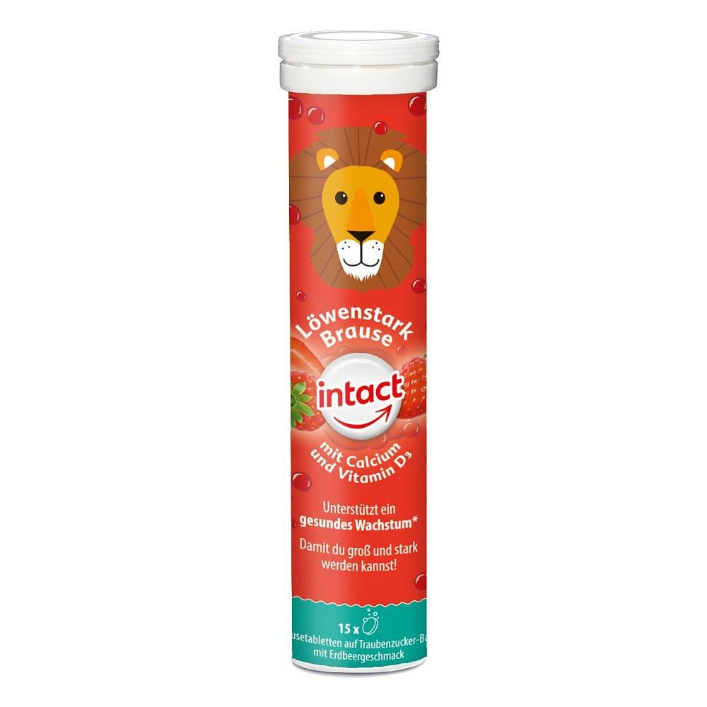 INTACT Silný lev vápník + vit. D3 15 šumivých tablet jahoda