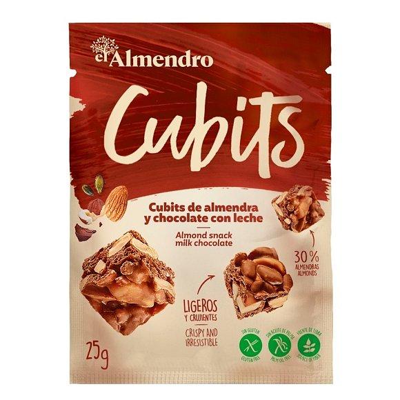 Almendro Cubits mandlové kostky s mléčnou čokoládou 25g