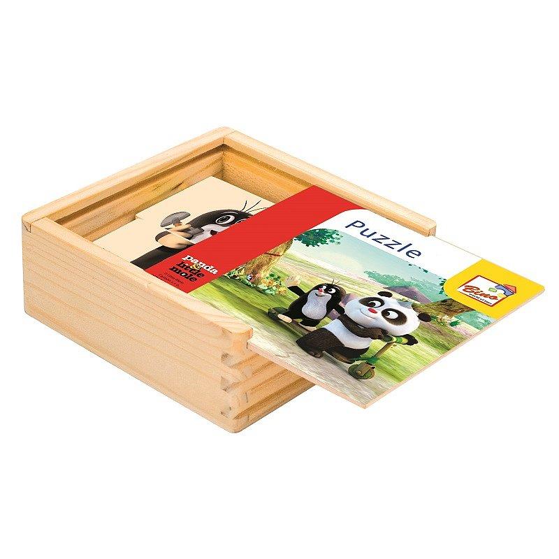 BINO Krtek a Panda dřevěné puzzle natur 16 dílků