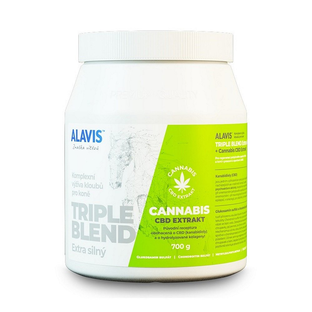 ALAVIS TRIPLE BLEND Extra silný s extraktem Cannabis CBD 700 g, poškozený obal