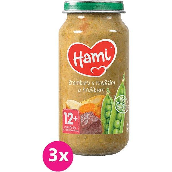 3x HAMI Brambory s hovězím a hráškem (250 g) - maso-zeleninový příkrm