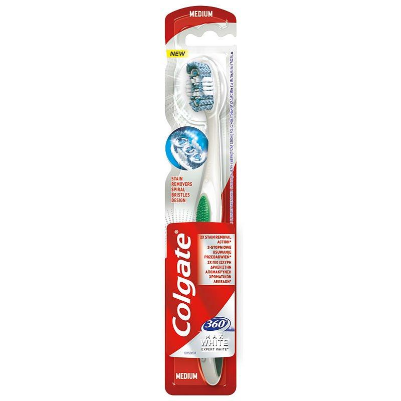 Colgate Max White Expert White středně tvrdý zubní kartáček 1 ks