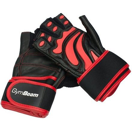 Fitness Rukavice Arnold – GymBeam unflavored black red – velikost L