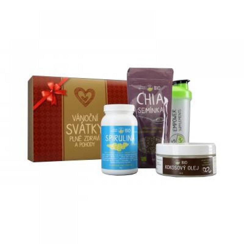 ES BIO Červeno zlatý dárkový balíček Spirulina 750 tbl. + Chia semínka 150 g + kokosový olej 250 ml + Shaker 600 ml