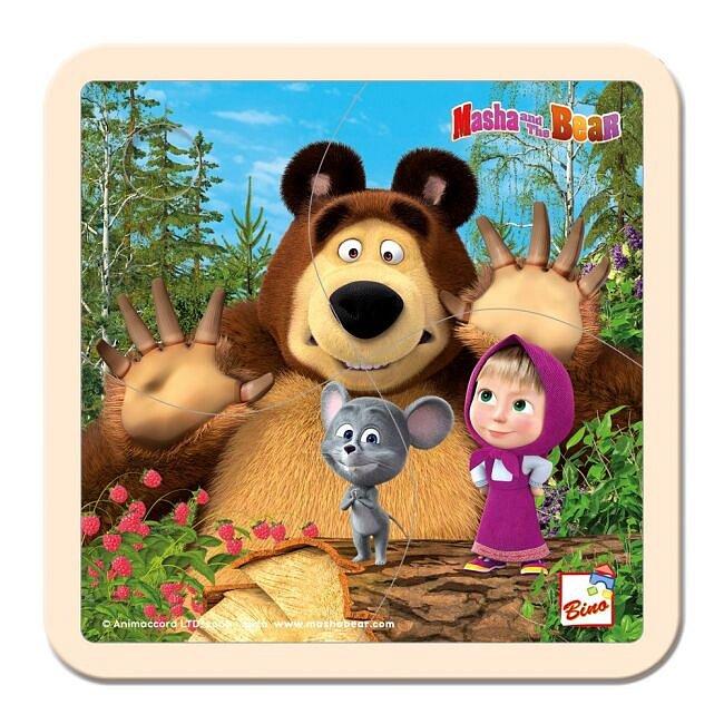 Bino dřevěné puzzle Máša a medvěd s myškou 4 dílky