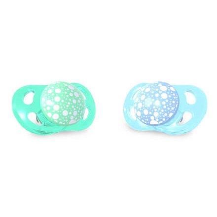 2x Dudlík mini 0-6m Pastelově modrá a zelená