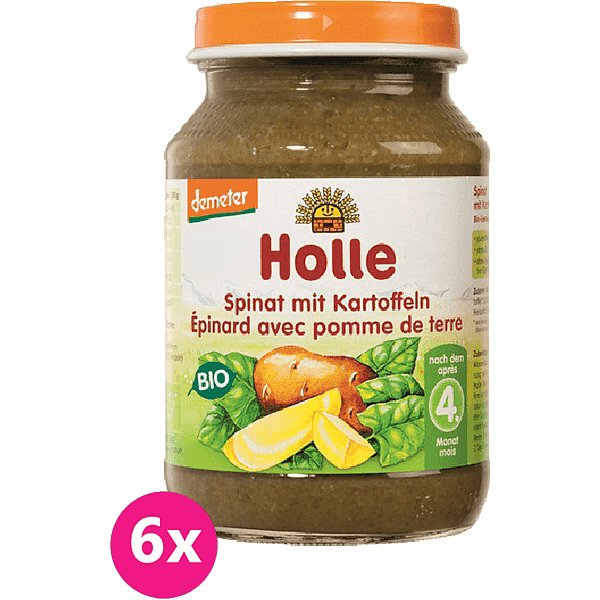 6x HOLLE Bio Špenát s bramborem - zeleninový příkrm, 190 g - Holle Bio Špenát s bramborem 6x190 g