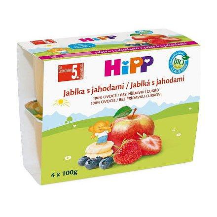 HIPP 100% OVOCE BIO Jablka s jahod. 4x100g