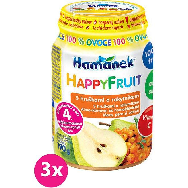 3x HAMÁNEK HappyFruit 100% s hruškami a rakytníkem - ovocný příkrm