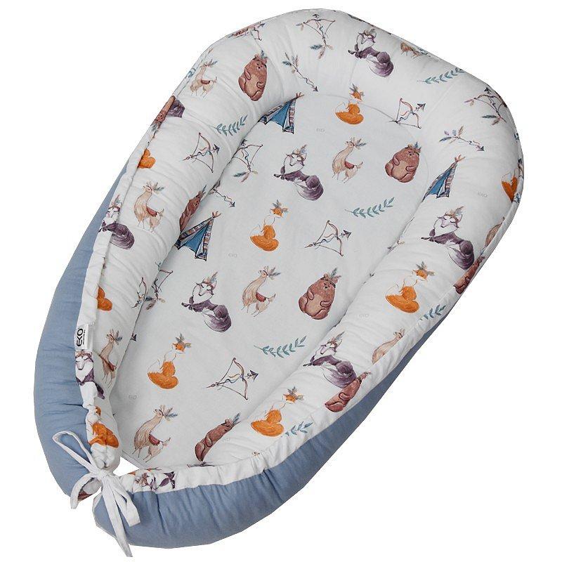EKO Hnízdo pro miminko bavlněné Indians Animals 90x60 cm